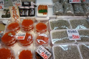 Fresh roe and tiny sardines from the nearby Sea of Japan