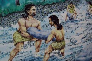 งานศิลปะในพิพิธภัณฑ์วงแหวนหิน หินถูกนำมาจากแม่น้ำที่อยู่ใกล้ ๆ