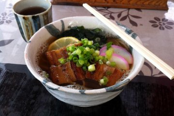 Anago soba—noodles with eel