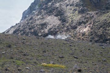 Smoke rising from the lava dome