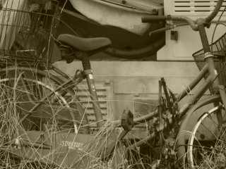 An abandoned bicycle and broken agricultural equipment