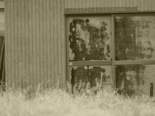 A tool shed's window