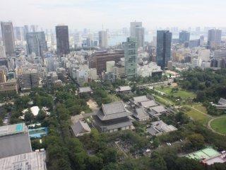 La vue sur le temple Zojo-ji depuis la première plateforme d'observation
