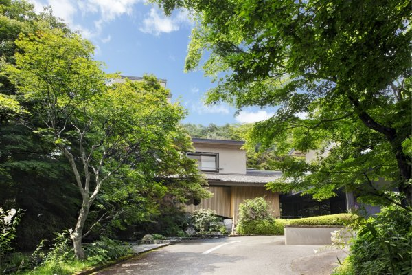 Front entrance is hidden beneath ample foliage around the property.