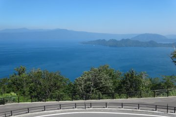 A view of the lake from a viewpoint