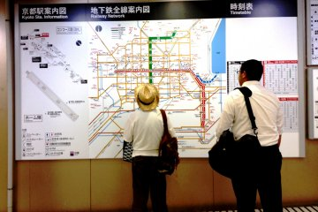 <p>Large city maps at each subway station show the way to popular attractions in Kyoto.</p>