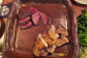 Deer meat and inobuta, ready to eat