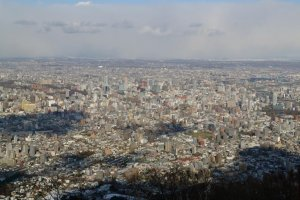 The city of Sapporo as seen from the observatory.