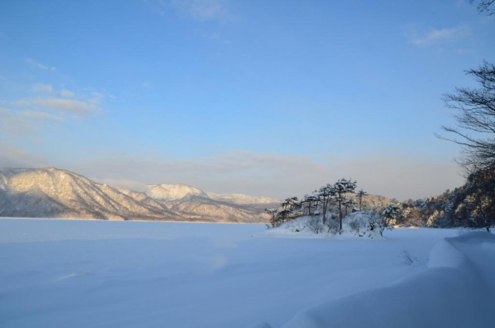 Magnificient Lake Towada in winter