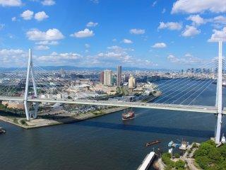 Osaka from the Tempozan Marketplace Ferris wheel.