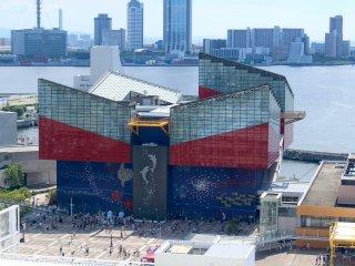 Kaiyukan Aquarium from the Tempozan Marketplace Ferris wheel.
