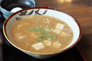 A bowl of steaming Tonjiru