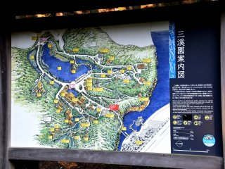 Sankeien Garden map. The oblong pond on the right is Dragonfly Pond in the Honmoku Citizens Park.