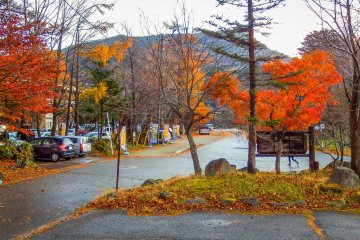 The autumn colors with Mount Oku-Shirane in the distance