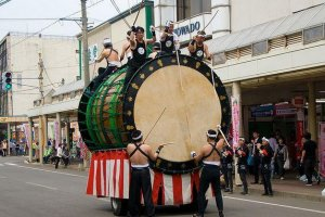 The large taiko drums of the museum are paraded in the streets annually.