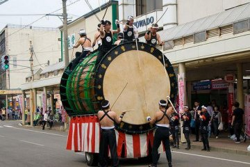<p>The large taiko drums of the museum are paraded in the streets annually.</p>
