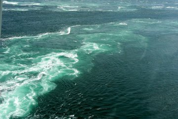 Line of disturbed water where two different currents meet
