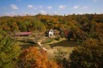 Вид на дом с высоты обзорной платформы