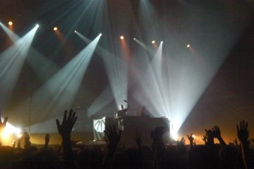 Electronic dance musicians Orbital perform at the Electraglide music festival in Makuhari Messe