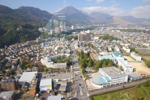 The city of Beppu nestled in the mountains
