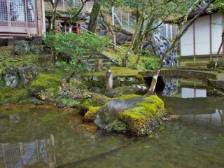A small pond in front of a small shrine