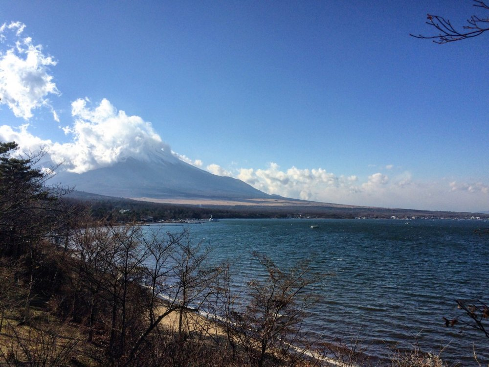 후지 산 경치가 있는 야마나카 호