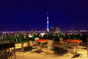 You can almost touch Skytree from the terrace