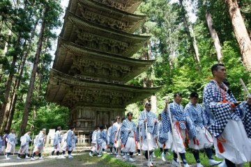 Haguro yamabushi on their way to the top of Mount Haguro