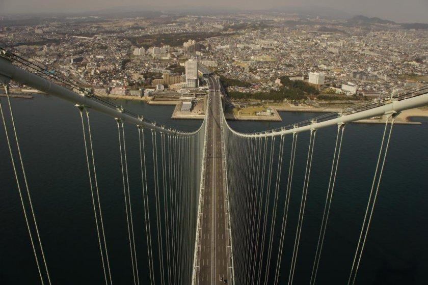 Top of the Akashi Kaikyo Bridge observation deck