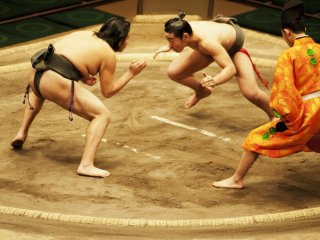 The surface of the dohyo is covered with a thin layer of sand