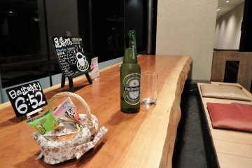 Enjoy a beer and snacks in the foot bath cafe