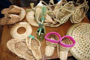 A range of wara rice straw items on display in Saito-san's studio