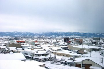 View over snowed in Tsuruoka City from an upper floor of the hotel.