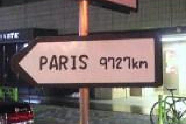 路地の前にある看板。パリまでの距離が書かれています。