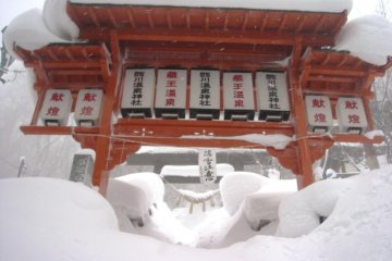 Even the local shrine has to cope with the harsh weather conditions