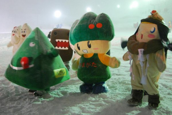 Who is who of mascots - mascot show at the Zao Snow Monster Festival