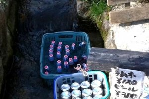 Cooling Drinks in Ouchijuku Canals