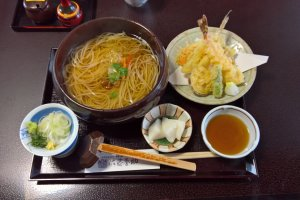Tempura and hot udon noodles