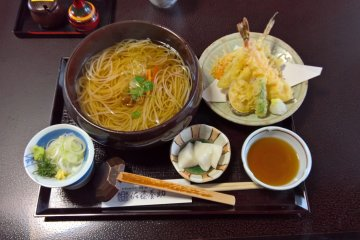 Tempura and hot udon noodles