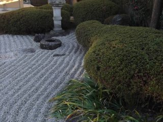 Raked gravel in the temple garden