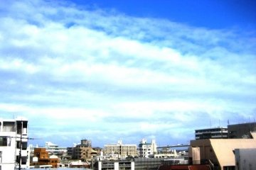 Slight view of the harbor bridge from the room at Hotel Rasso which is near Kokusai Dori and Port Tomari