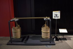 Test your strength with these waste buckets at the Edo-Tokyo Museum