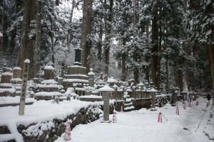 Graves covered in snow