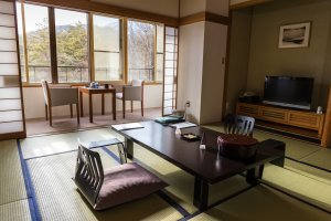 The tatami mat rooms range in size for large or small groups