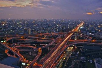 Higashi-Osaka Junction at twilight