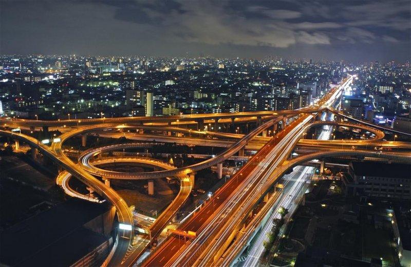 Higashi-Osaka Junction at night-time