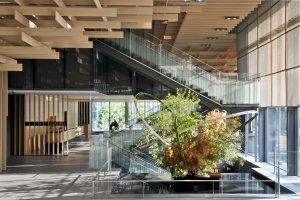Sogetsu ikebana on display in the main lobby