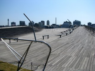 Rare scene of deserted Osanbashi Pier