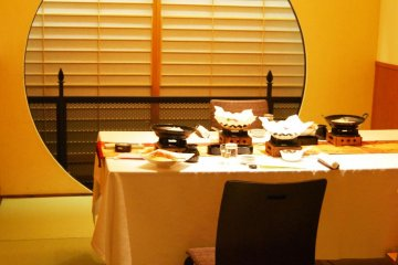 An exquisite setting for dinner at the ryokan.