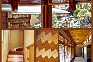 The wooden interior at the Shunkaen Bonsai Museum